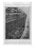 Illustration Showing the Great Height of the Titanic and the Long Down-Ward Journey for Lifeboats Giclee Print