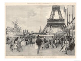 Visitors Stroll in the Fresh Air Beneath the Eiffel Tower in Front of the Monumental Fountain Giclee Print