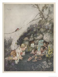 Boy Receives Presents from Friendly Gnomes Giclee Print by Gustaf Tenggren