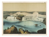 The Niagara Falls Between Canada and the United States, The American Fall Reproduction procédé giclée par Ferdinand Von Hochstetter
