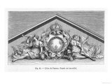 The Coat of Arms or Shield of France Incorporated into a Classical Style Pediment in Bas-Relief Giclee Print