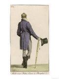 Purple Cut-Away Coat (Rear View) Grey Pantaloons Black Hessian Boots Umbrella Top Hat Giclee Print