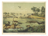 Animals and Plants of the Jurassic Era in Europe Premium Giclee Print by Ferdinand Von Hochstetter