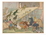 Noah's Ark, Noah's Sons Encourage the Animal Couples to Board the Ark Giclee Print by E. Boyd Smith