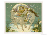 Five Sky-Clad Fairies Dance in the Air Above a Lake Giclee Print by Emily Gertrude Thomson