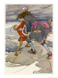 Peter Pan and Captain Hook Fight Giclee Print by Alice B. Woodward