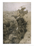 Germans Repel a French Attack on the Trenches in Champagne France Giclee Print by Karl Wagner