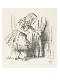 Alice Alice Draws Back the Curtain to Reveal a Little Door Lámina giclée por Tenniel, John