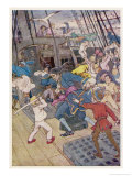 Fight Breaks out on Board the Pirate Ship Giclee Print by Alice B. Woodward