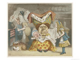 Alice and the Duchess in the Kitchen with the Duchess Who is Holding a Baby Stampa giclée di Tenniel, John