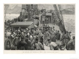 The Bell for Breakfast Summons Passengers Below Decks on Board an Emigrant Ship Giclee Print by C.t. Staniland