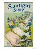 Sunlight Soap Advert a String of Women Admire the Results Displayed on a Very Long Washing Line Giclee Print
