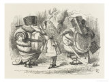Alice Ties Armour on to Tweedledee and Tweedledum Giclee Print by John Tenniel