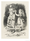 White Queen Alice Adjusts the White Queen's Shawl Giclee Print by John Tenniel