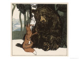 Scene from the Story Showing a Fox in Conversation with the Bear Giclée-tryk af A Weisgerber