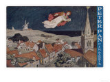 Peter Pan and Wendy Fly Over the Rooftops in a Poster to Advertise the Stage Show Giclee Print
