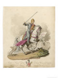 Richard I the Lionheart Depicted Riding into Battle Broadsword in Hand Armoured from Head to Foot Giclee Print by Charles Hamilton Smith