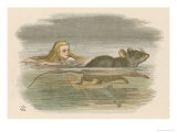 Alice and the Pool of Tears Swimming in It with a Mouse Giclee Print by John Tenniel