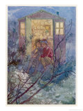 Peter Pan and Wendy Sit on the Doorstep of the Wendy House Giclee Print by Alice B. Woodward