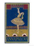 R. Vaughan - Anna Pavlova Russian Ballet Dancer on Stage in 1912 - Giclee Baskı