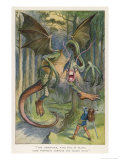 The Jabberwock with Eye of Flame Came Whiffling Through the Tulgey Wood Reproduction procédé giclée par John Tenniel