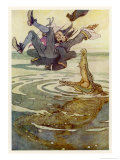 Captain Hook Falls into the Jaws of the Crocodile Giclee Print by Alice B. Woodward