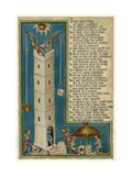 Jesus from Heaven Looks Down Apprehensively at the Builders of the Tower of Babel Giclee Print