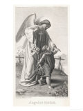 Guardian Angel Leads a Small Child Along a Dangerous Mountain Path with a Broken Fence Giclee Print by X. Steiffensand