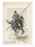 Russian Cossack of the Imperial Guard on Horseback with Lance Giclée-Druck von L. Vallet
