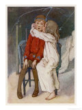Peter Pan Being Kissed Gently on the Cheek by Wendy Giclee Print by Alice B. Woodward