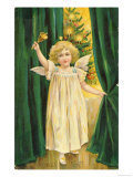 Little Angel with a Little Bell Summons Us to Come to the Christmas Tree Giclee Print