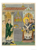 Abbot Elfnoth Presents a Book of Prayer to the Monastery of Saint Augustin Giclee Print by Joseph Strutt