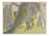 Noah Finds That the Dinosaurs are Too Large to be Saved in His Ark Giclée-Druck von E. Boyd Smith