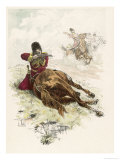 Circassian Soldier of the Czar's Escort Uses His Horse as Cover During a Firefight Giclee Print by L. Vallet