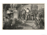 Julius Caesar is Assassinated in the Senate by Brutus and His Companions Giclée-Druck von Hermann Vogel