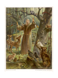 Saint Francis of Assisi, Preaching to the Animals Premium Giclée-tryk af Hans Stubenrauch