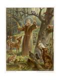 Saint Francis of Assisi, Preaching to the Animals Giclée-Druck von Hans Stubenrauch