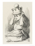 Alice Crowned as Queen Alice Puts on the Crown Giclee Print by John Tenniel