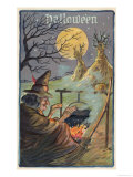 Hallowe'en Witch Works Her Magic Giclee Print