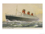 Cunard White Star Liner in Full Steam Reproduction procédé giclée par R.e. Turner