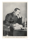 Conan Doyle Writing One of the Early Sherlock Holmes Stories Circa 1892 Giclee Print