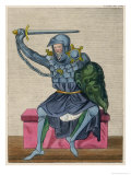 Man in Armour Brandishes a Sword and Holds a Green Shield with a Creatures Face Inscribed on It Giclee Print by Joseph Strutt