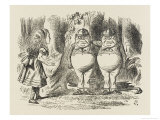 Alice Meets Tweedledum and Tweedledee Reproduction procédé giclée par John Tenniel