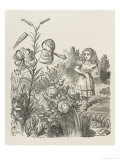 Living Flowers Alice and the Living Flowers Giclee Print by John Tenniel