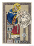 Dunstan Archbishop of Canterbury 959 English Prelate Writing with a Quill Pen Giclee Print by Joseph Strutt