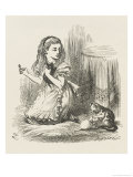 Black Kitten Alice Plays with the Kittens Giclee Print by John Tenniel