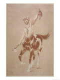 Centaur with Recently Decapitated Victim and Stone Axe Giclee Print by L. Vallet
