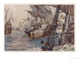 "Sir Richard Grenville in the ""Revenge"" Fights the Spaniards But ""Revenge"" is Sunk Giclee Print by Norman Wilkinson"