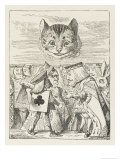 Cheshire Cat the King Queen and Executioner Argue About the Chishire Cat's Head Stampa giclée di Tenniel, John