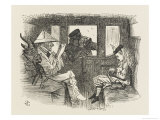 Alice in the Railway Carriage Closely Observed by the Guard Giclee Print by John Tenniel